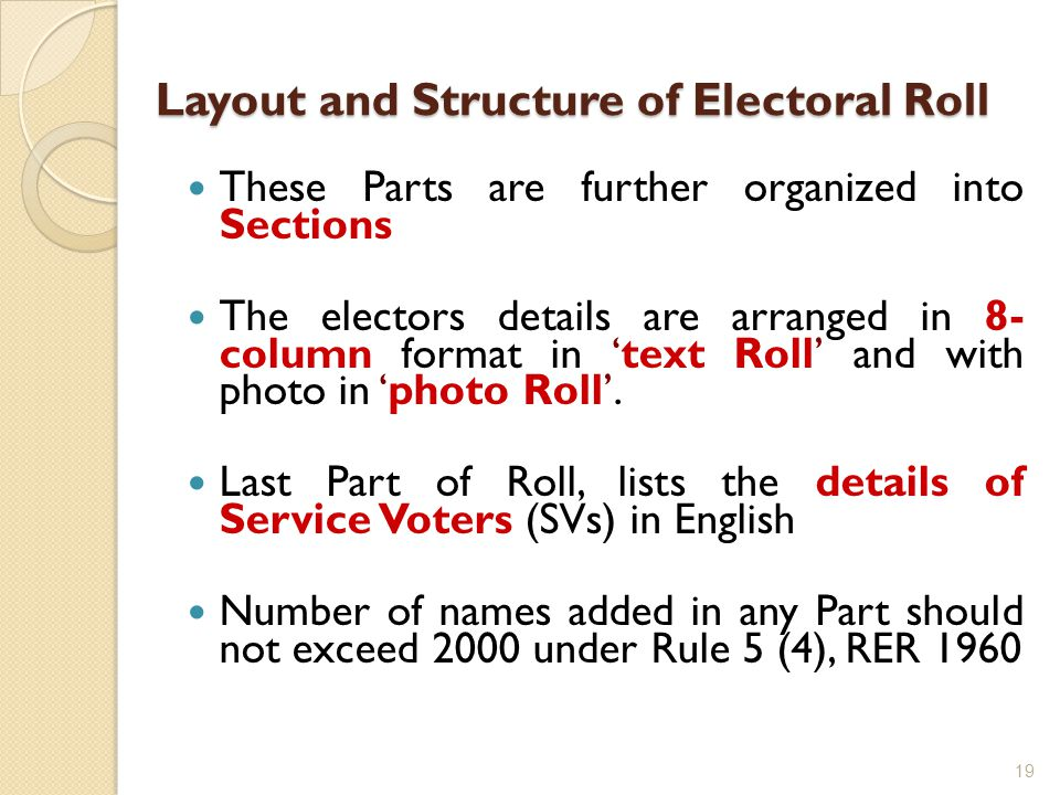 Layout and Structure of Electoral Roll Layout and Structure of Electoral Roll These Parts are further organized into Sections The electors details are