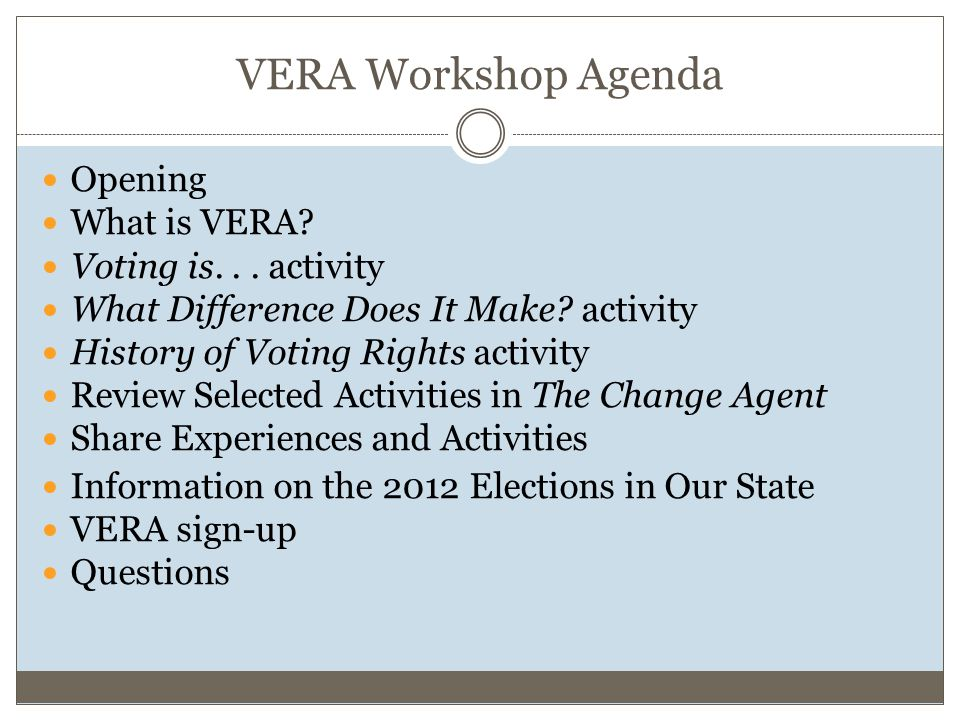 VERA Workshop Agenda Opening What is VERA. Voting is...