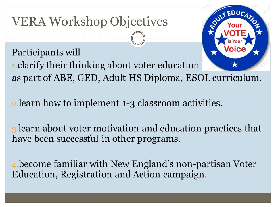 VERA Workshop Objectives Participants will 1.