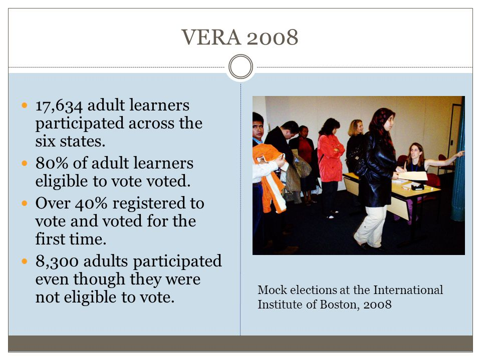VERA 2008 17,634 adult learners participated across the six states.