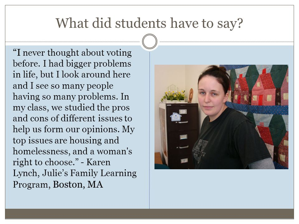 What did students have to say. I never thought about voting before.