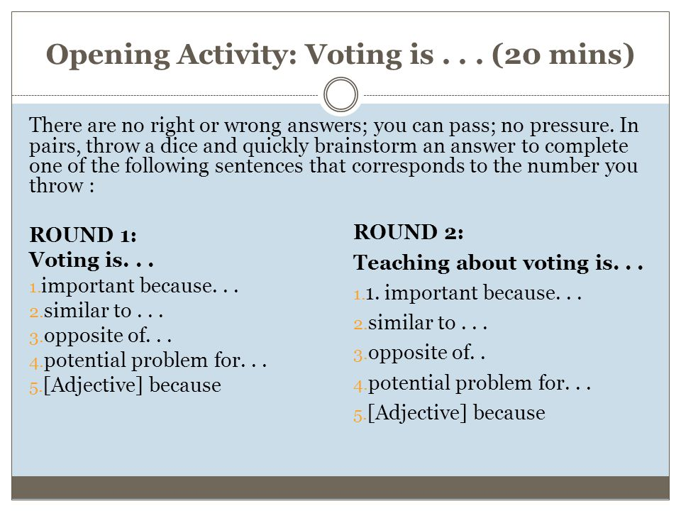 Opening Activity: Voting is...