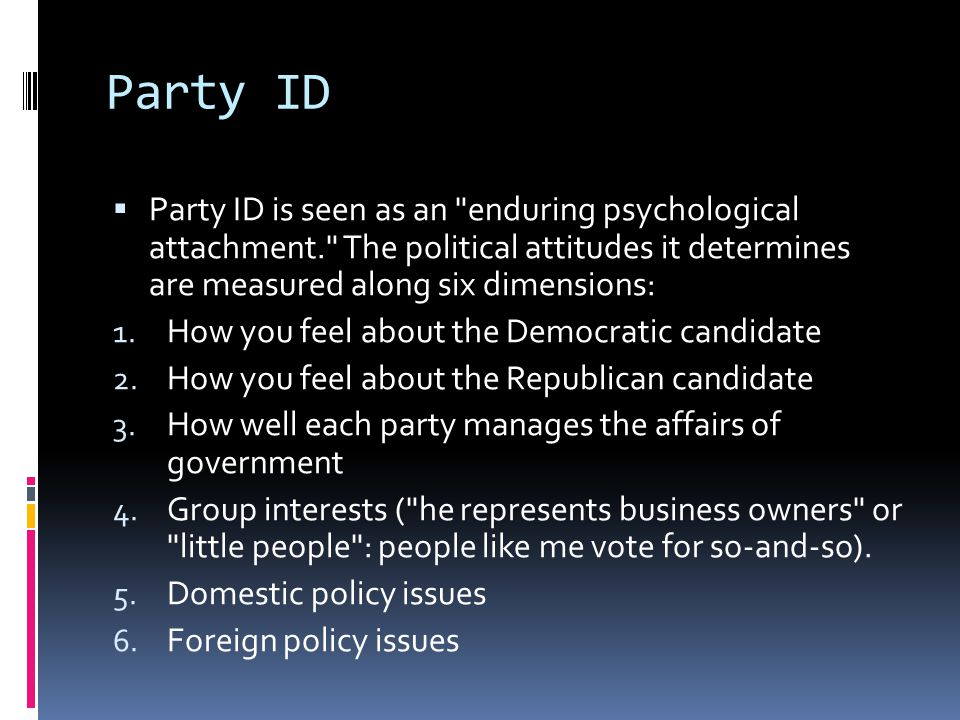 Partisan Perception  Feelings across these six dimensions tend to be highly correlated.