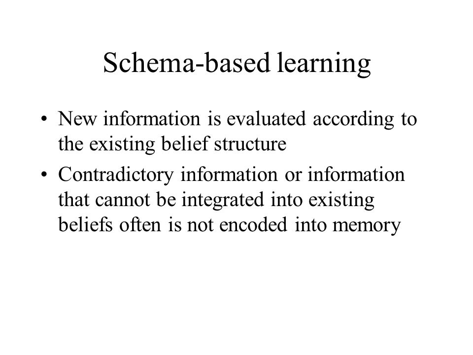 Schema-based learning New information is evaluated according to the existing belief structure Contradictory information or information that cannot be