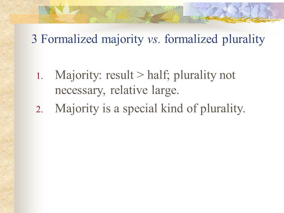 3 Formalized majority vs. formalized plurality 1.
