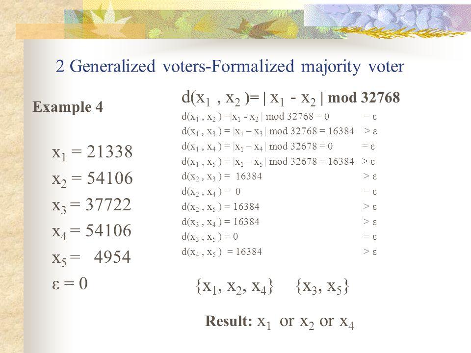 2 Generalized voters-Formalized majority voter x 1 = 21338 x 2 = 54106 x 3 = 37722 x 4 = 54106 x 5 = 4954 ε = 0 {x 1, x 2, x 4 } {x 3, x 5 } Example 4 Result: x 1 or x 2 or x 4 d(x 1, x 2 )= | x 1 - x 2 | mod 32768 d(x 1, x 2 ) =|x 1 - x 2 | mod 32768 = 0 = ε d(x 1, x 3 ) = |x 1 – x 3 | mod 32768 = 16384 > ε d(x 1, x 4 ) = |x 1 – x 4 | mod 32678 = 0 = ε d(x 1, x 5 ) = |x 1 – x 5 | mod 32678 = 16384 > ε d(x 2, x 3 ) = 16384 > ε d(x 2, x 4 ) = 0 = ε d(x 2, x 5 ) = 16384 > ε d(x 3, x 4 ) = 16384 > ε d(x 3, x 5 ) = 0 = ε d(x 4, x 5 ) = 16384 > ε