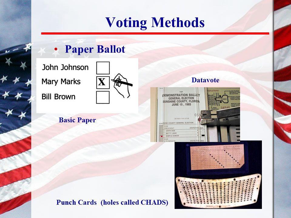 Voting Methods Paper Ballot Basic Paper Punch Cards (holes called CHADS) Datavote