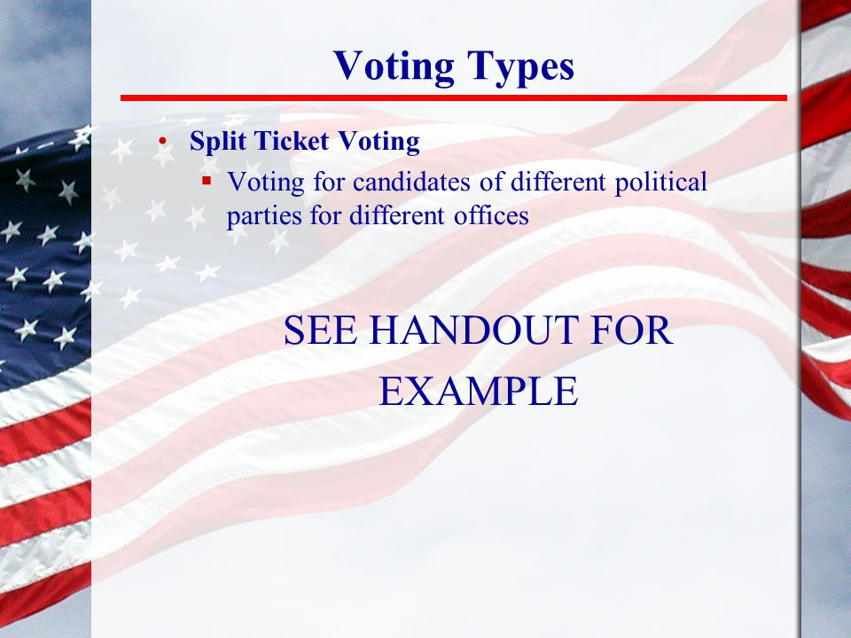 Voting Types Split Ticket Voting  Voting for candidates of different political parties for different offices SEE HANDOUT FOR EXAMPLE