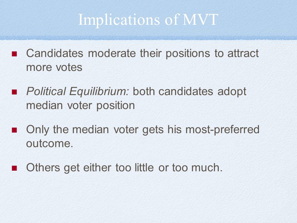 Implications of MVT Candidates moderate their positions to attract more votes Political Equilibrium: both candidates adopt median voter position Only the median voter gets his most-preferred outcome.