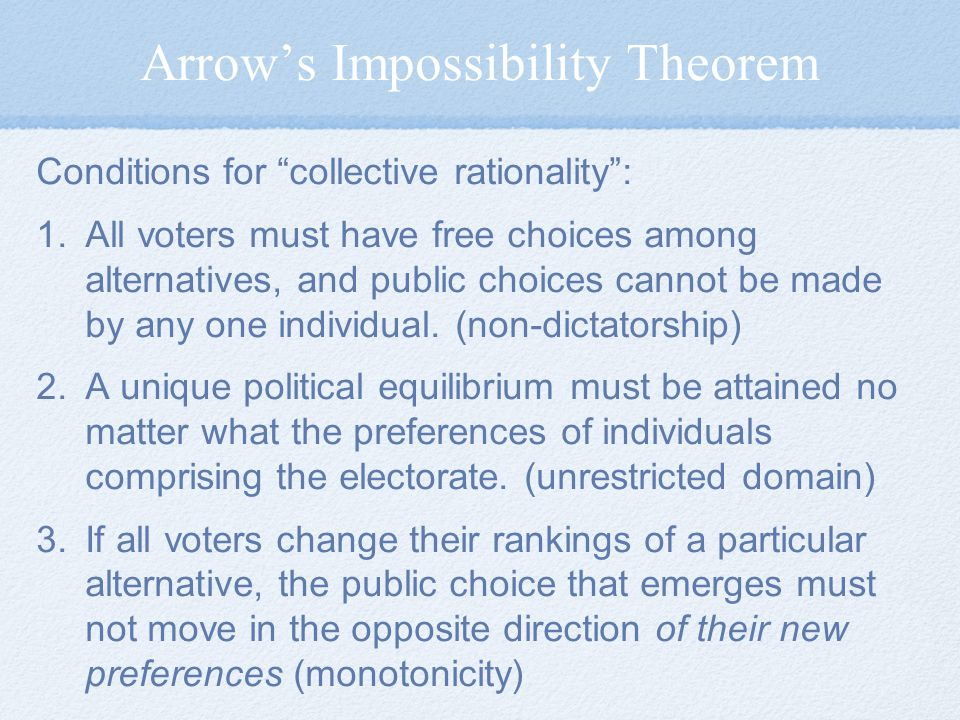 Arrow's Impossibility Theorem Conditions for collective rationality : 1.