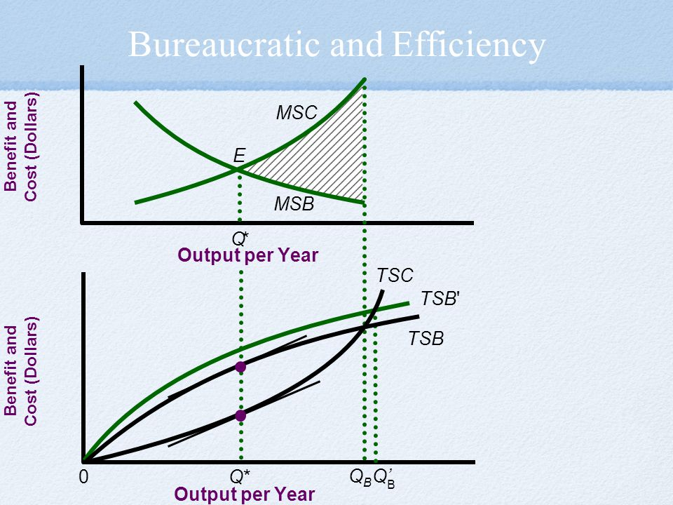 Bureaucratic and Efficiency Output per Year 0 Benefit and Cost (Dollars) Output per Year Benefit and Cost (Dollars) B Q' QBQB TSB TSB TSC MSC MSB * * Q E Q