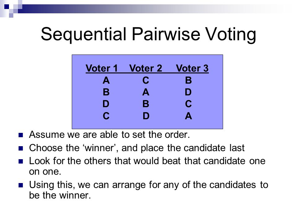 Sequential Pairwise Voting Assume we are able to set the order. Choose the 'winner', and place the candidate last Look for the others that would beat