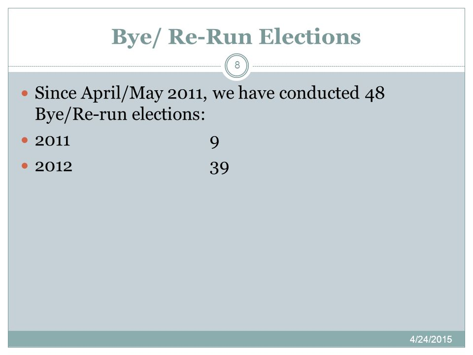 Bye/ Re-Run Elections 4/24/2015 8 Since April/May 2011, we have conducted 48 Bye/Re-run elections: 20119 201239