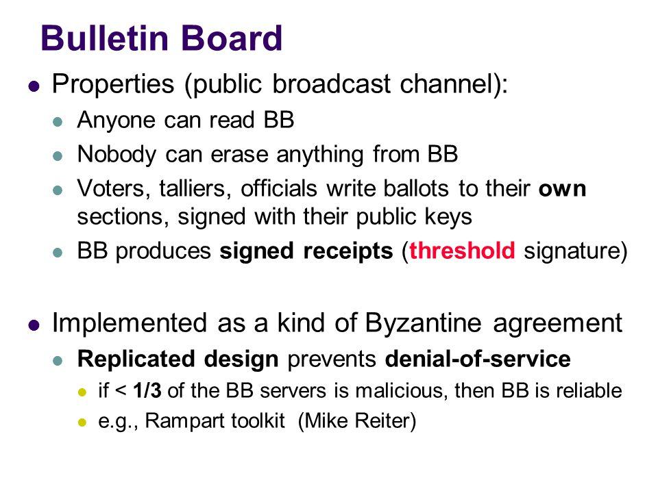 Bulletin board model Bob 56459845645454766 signed Carol 49135784578454685 signed Tallier #1 Sub-tally 1 32234555459085752 signed Tallier #2 Sub-tally