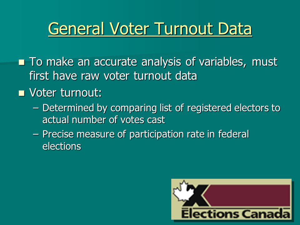 General Voter Turnout Data To make an accurate analysis of variables, must first have raw voter turnout data To make an accurate analysis of variables, must first have raw voter turnout data Voter turnout: Voter turnout: –Determined by comparing list of registered electors to actual number of votes cast –Precise measure of participation rate in federal elections
