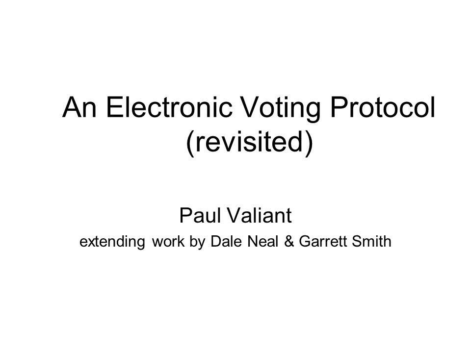 The Revised Protocol (IV) 1.Ballot distribution: BD → V:sig BD {h(sig R {V})} –h is a one-way permutation 2.