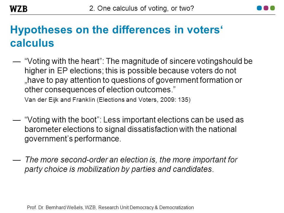 """Prof. Dr. Bernhard Weßels, WZB, Research Unit Democracy & Democratization Hypotheses on the differences in voters' calculus —""""Voting with the heart"""":"""