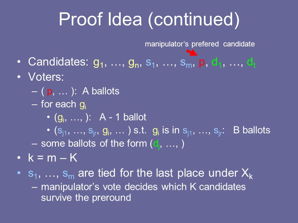 Proof Idea (continued) Candidates: g 1, …, g n, s 1, …, s m, p, d 1, …, d t Voters: –( p, … ): A ballots –for each g i (g i, …, ): A - 1 ballot (s j1, …, s jr, g i, … ) s.t.
