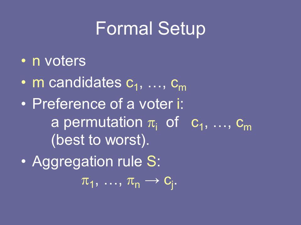 Proof Idea (continued) Candidates: g 1, …, g n, s 1, …, s m, p, d 1, …, d t Voters: –( p, … ): A ballots –for each g i (g i, …, ): A - 1 ballot (s j1, …, s jr, g i, … ) s.t.