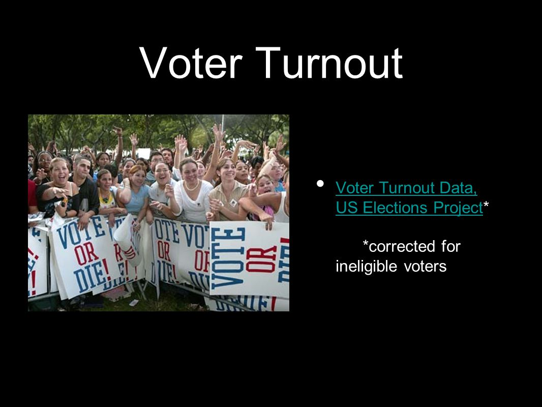 Voter Turnout Voter Turnout Data, US Elections Project* *corrected for ineligible voters Voter Turnout Data, US Elections Project