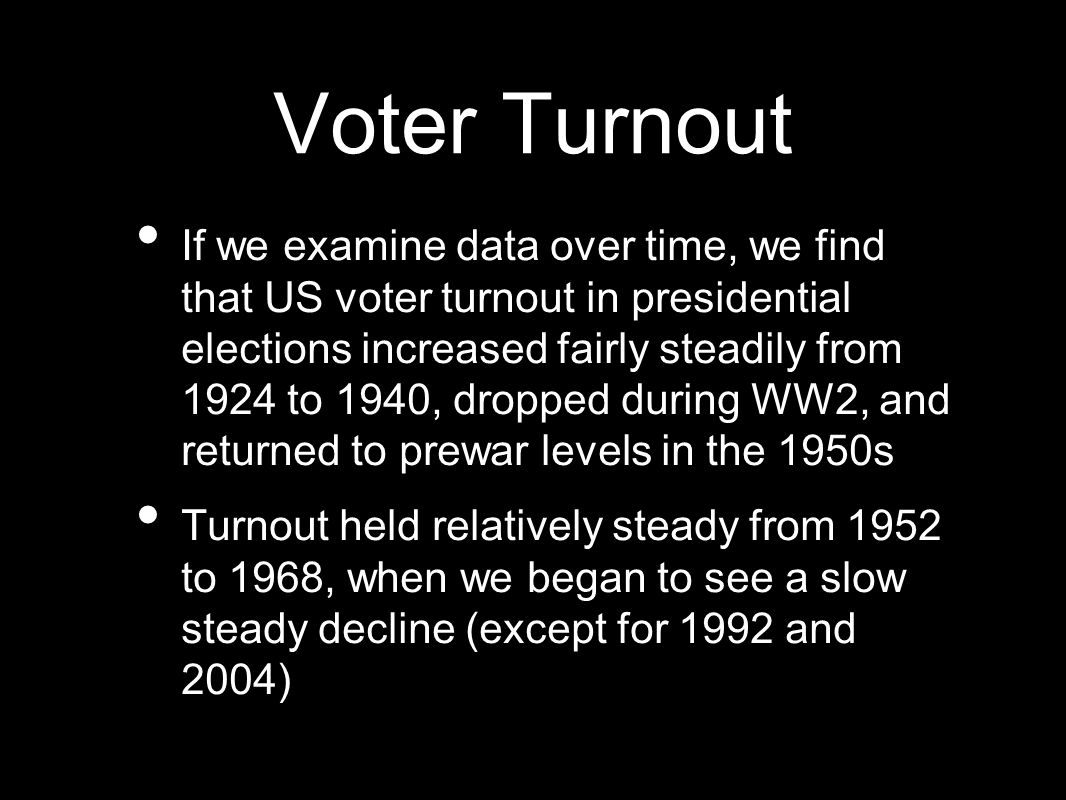 Voter Turnout If we examine data over time, we find that US voter turnout in presidential elections increased fairly steadily from 1924 to 1940, dropped during WW2, and returned to prewar levels in the 1950s Turnout held relatively steady from 1952 to 1968, when we began to see a slow steady decline (except for 1992 and 2004)
