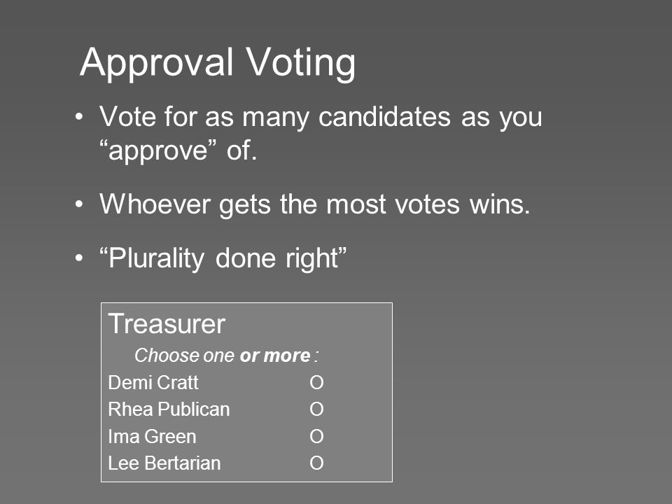 Approval Voting Vote for as many candidates as you approve of.