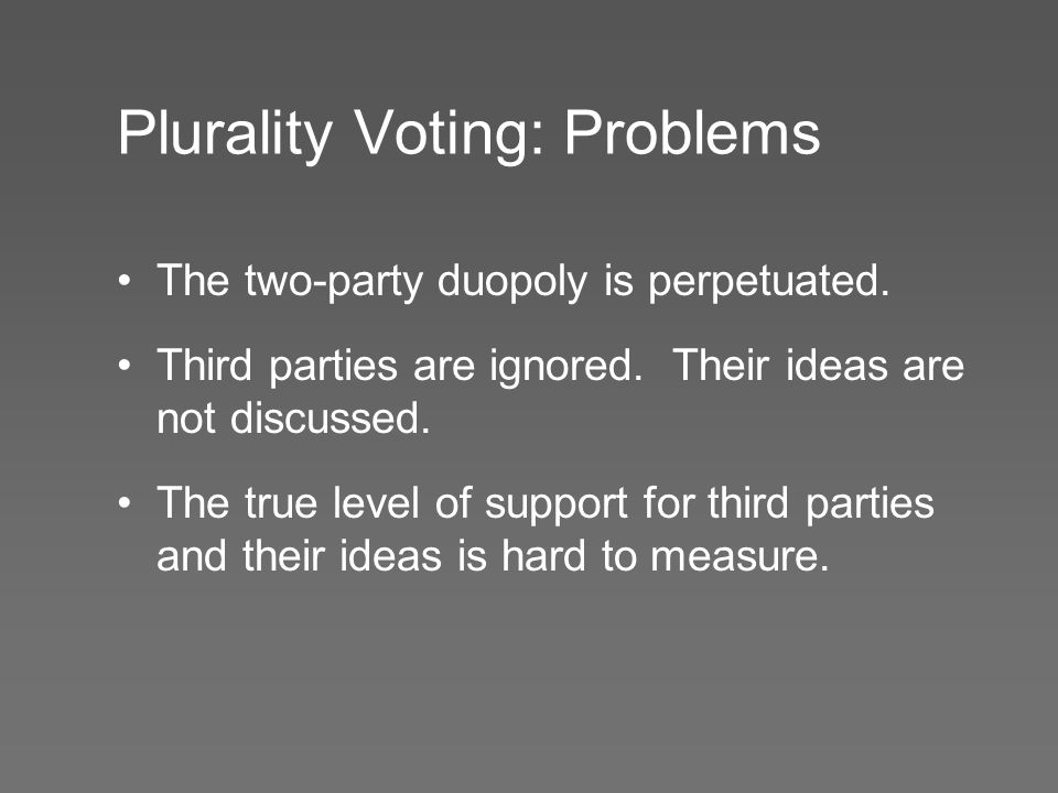 Plurality Voting: Problems The two-party duopoly is perpetuated.
