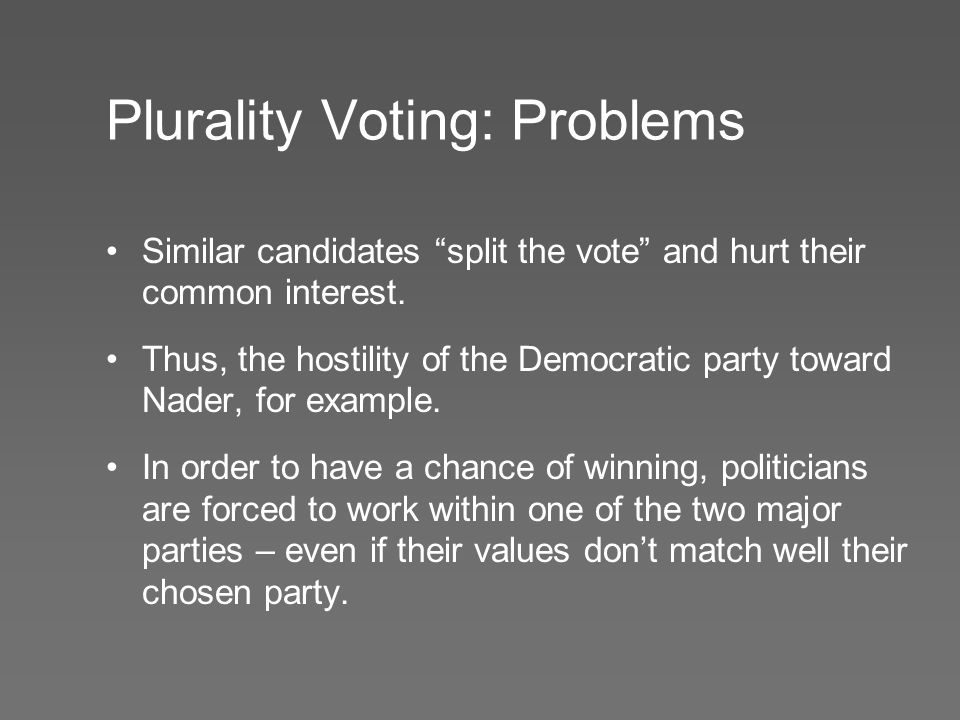 """Plurality Voting: Problems Similar candidates """"split the vote"""" and hurt their common interest. Thus, the hostility of the Democratic party toward Nade"""