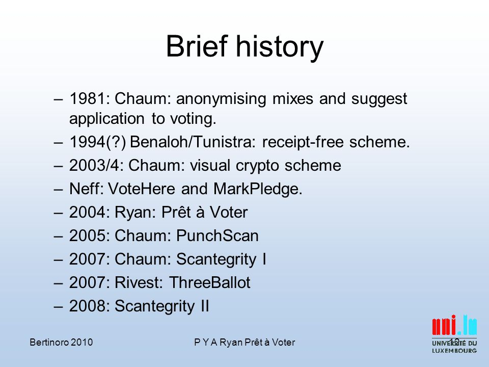 Brief history –1981: Chaum: anonymising mixes and suggest application to voting.