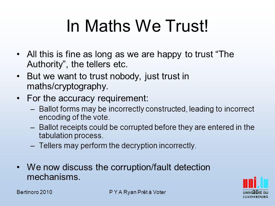 In Maths We Trust.