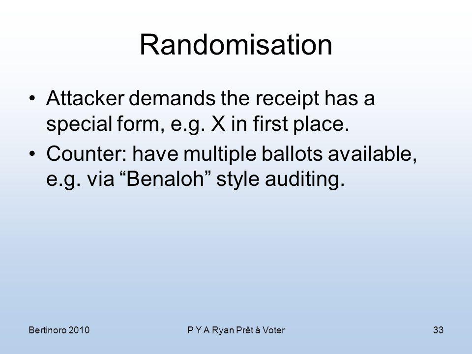 Randomisation Attacker demands the receipt has a special form, e.g.