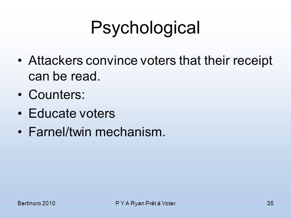 Psychological Attackers convince voters that their receipt can be read.