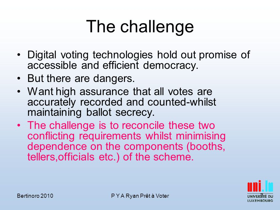 Conclusions Secure voting systems a dynamic area of research.