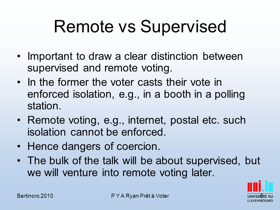 Remote vs Supervised Important to draw a clear distinction between supervised and remote voting.