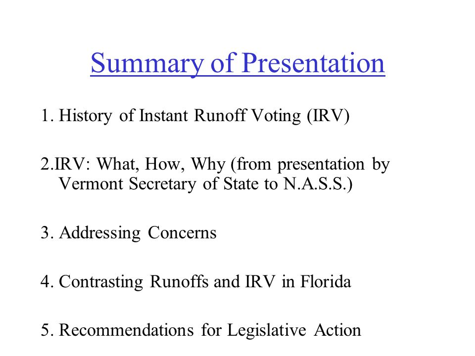 Instant Runoff Voting (Ranked Choice Voting) Presented By: Rob Richie, Executive Director The Center for Voting and Democracy (The Center is a non-profit, non-partisan organization in Maryland.
