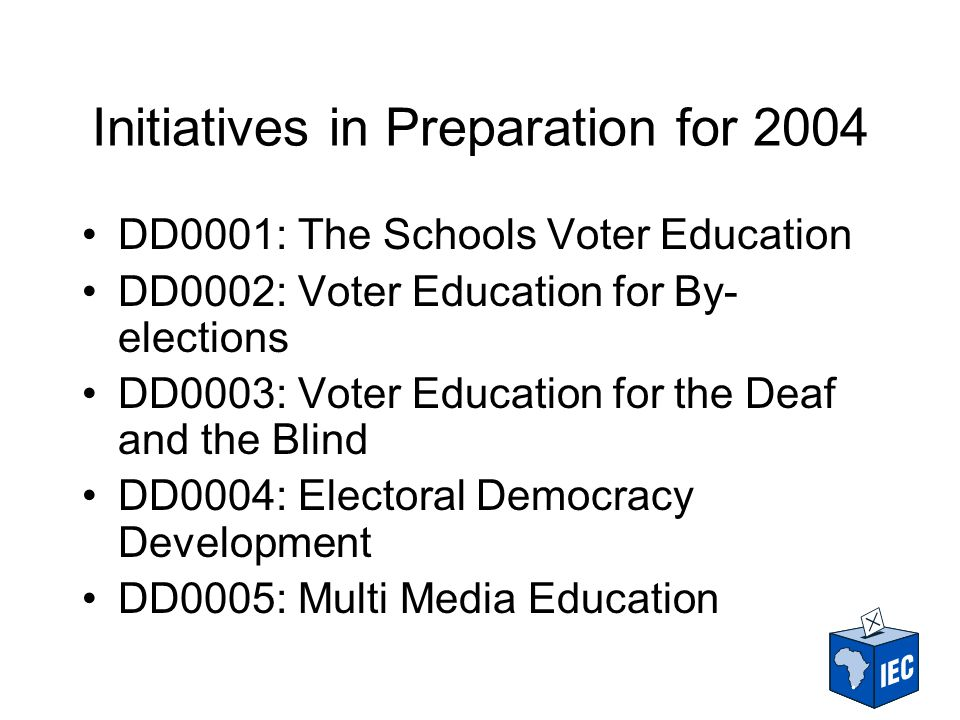 Schools Voter Education (1) Objectives: –increase the number of new registrations –educate learners about their political rights and responsibilities within the new democratic order –motivate learners to enroll as voters and participate in electoral processes