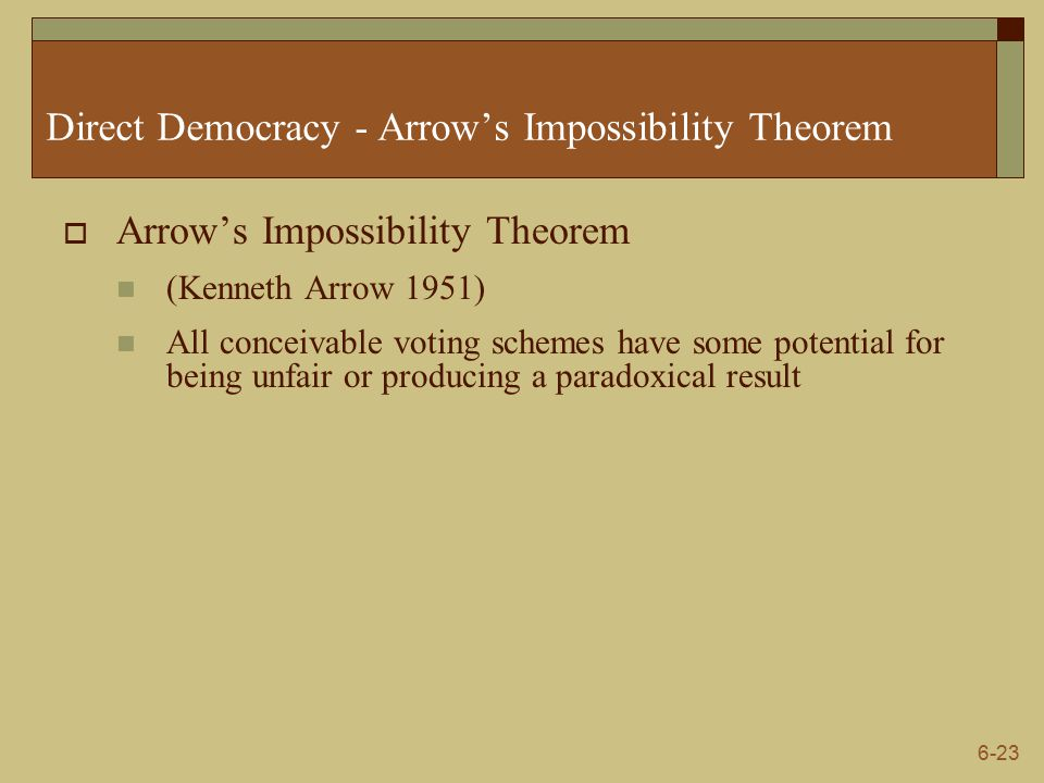 6-23 Direct Democracy - Arrow's Impossibility Theorem  Arrow's Impossibility Theorem (Kenneth Arrow 1951) All conceivable voting schemes have some potential for being unfair or producing a paradoxical result