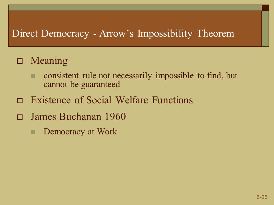 6-25 Direct Democracy - Arrow's Impossibility Theorem  Meaning consistent rule not necessarily impossible to find, but cannot be guaranteed  Existence of Social Welfare Functions  James Buchanan 1960 Democracy at Work