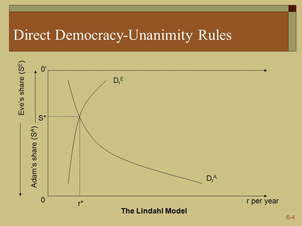 6-4 Direct Democracy-Unanimity Rules r per year 0 0' Adam's share (S A ) Eve's share (S E ) DrADrA The Lindahl Model DrEDrE r* S*