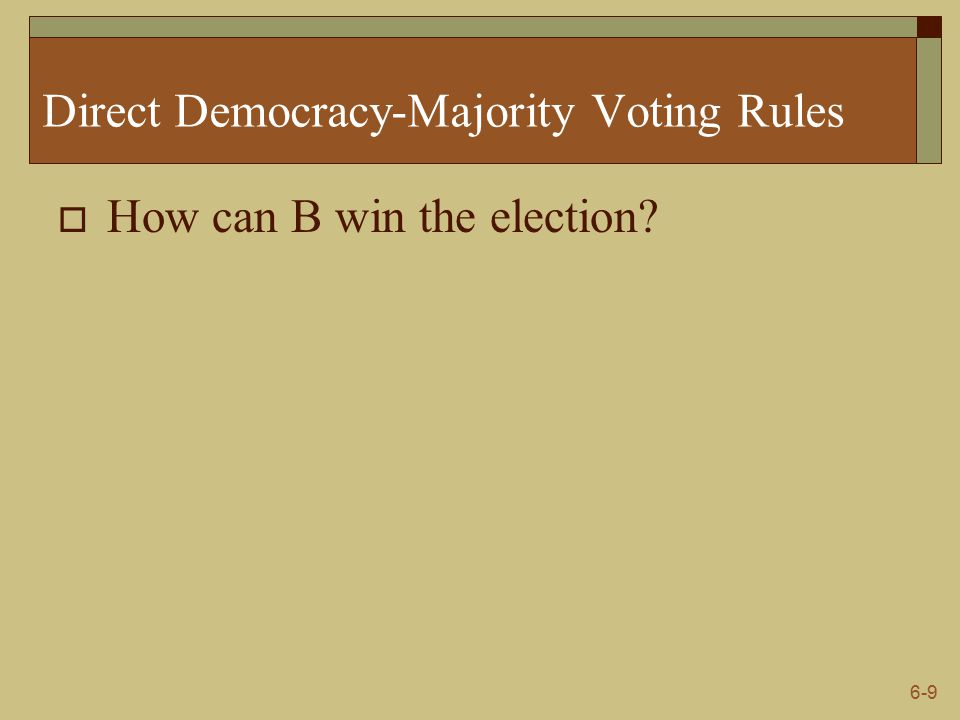 6-9 Direct Democracy-Majority Voting Rules  How can B win the election