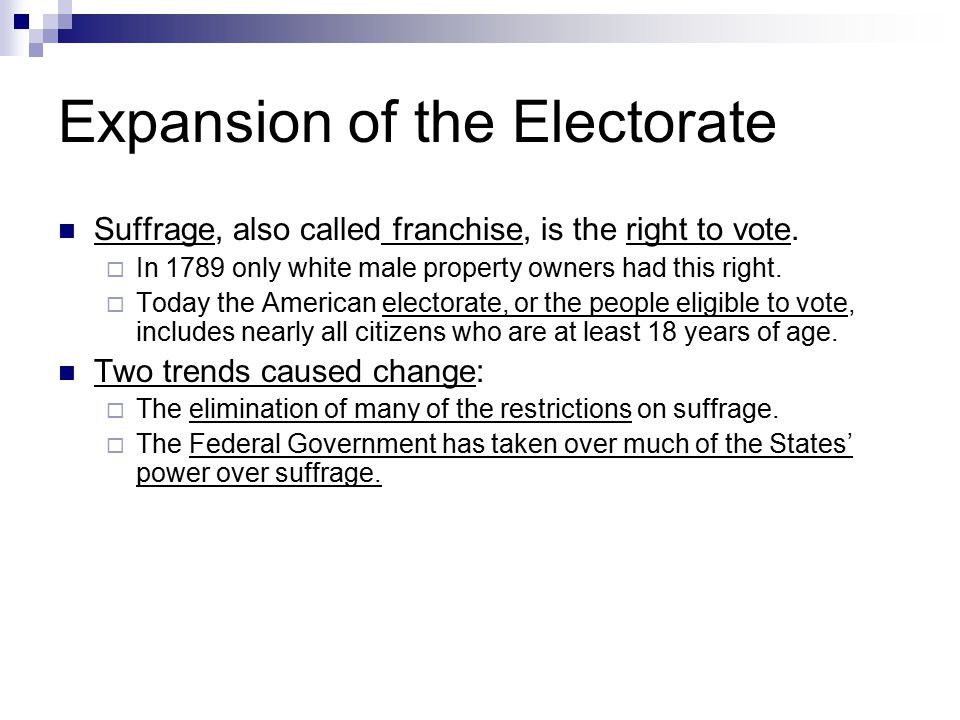 Expansion of the Electorate Suffrage, also called franchise, is the right to vote.  In 1789 only white male property owners had this right.  Today t