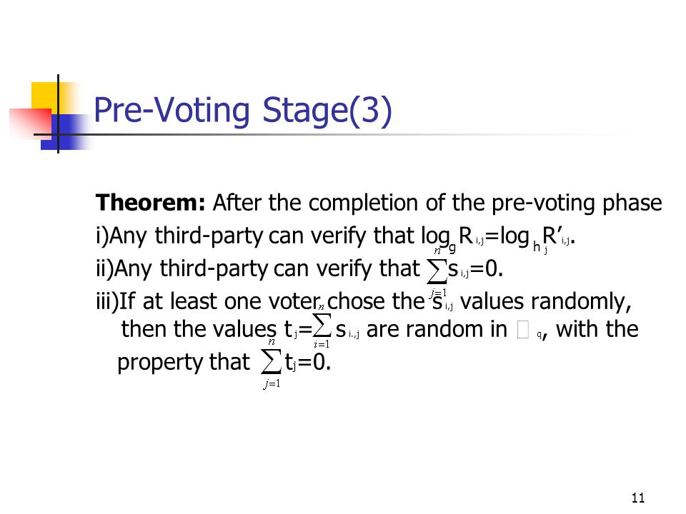 11 Pre-Voting Stage(3) Theorem: After the completion of the pre-voting phase i)Any third-party can verify that log R i,j =log R' i,j.
