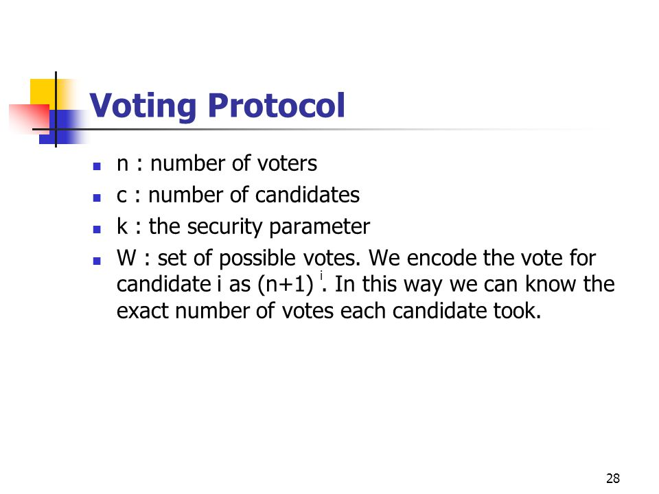 28 Voting Protocol n : number of voters c : number of candidates k : the security parameter W : set of possible votes.