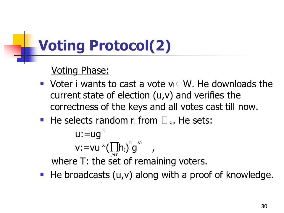30 Voting Protocol(2) Voting Phase:  Voter i wants to cast a vote v i W. He downloads the current state of election (u,v) and verifies the correctnes