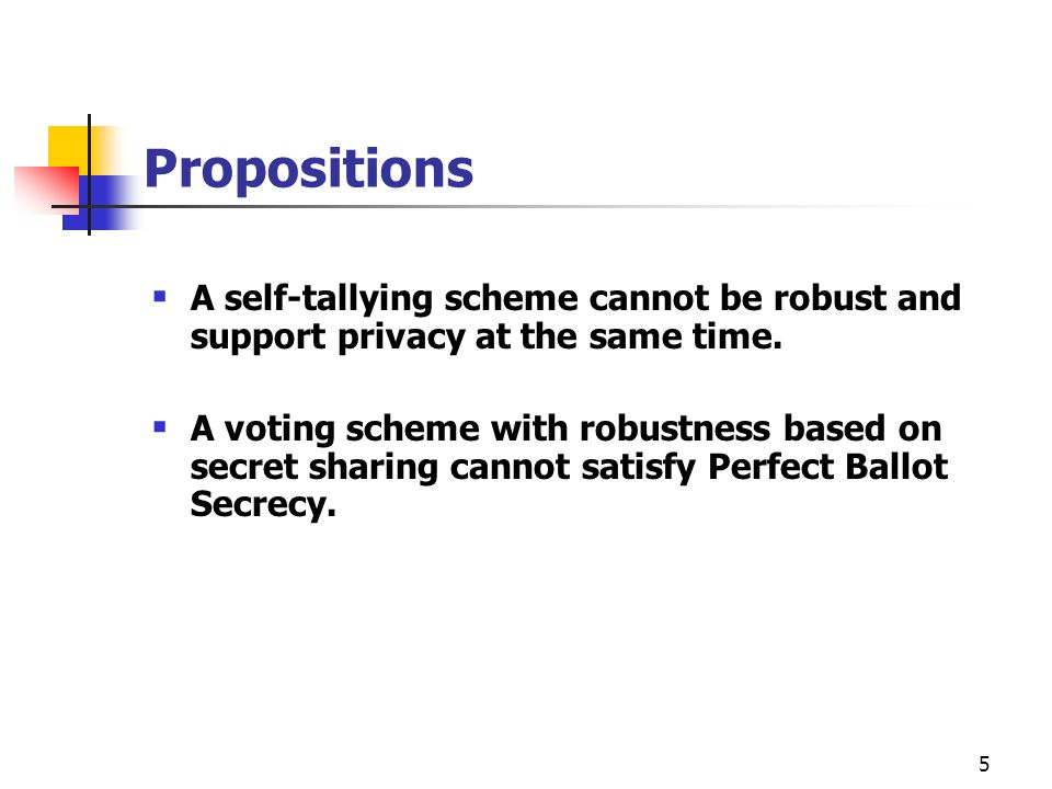 5 Propositions  A self-tallying scheme cannot be robust and support privacy at the same time.
