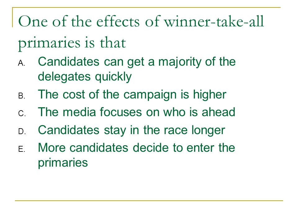 One of the effects of winner-take-all primaries is that A.