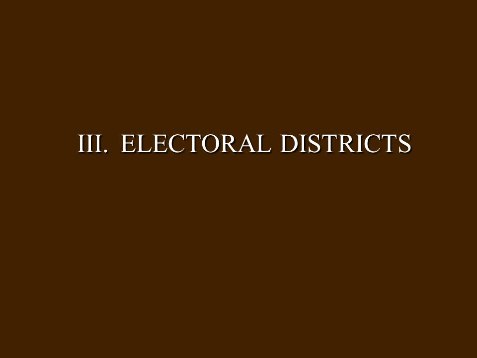 III. ELECTORAL DISTRICTS