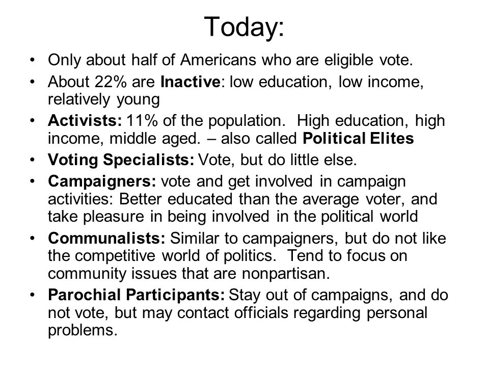 Today: Only about half of Americans who are eligible vote.