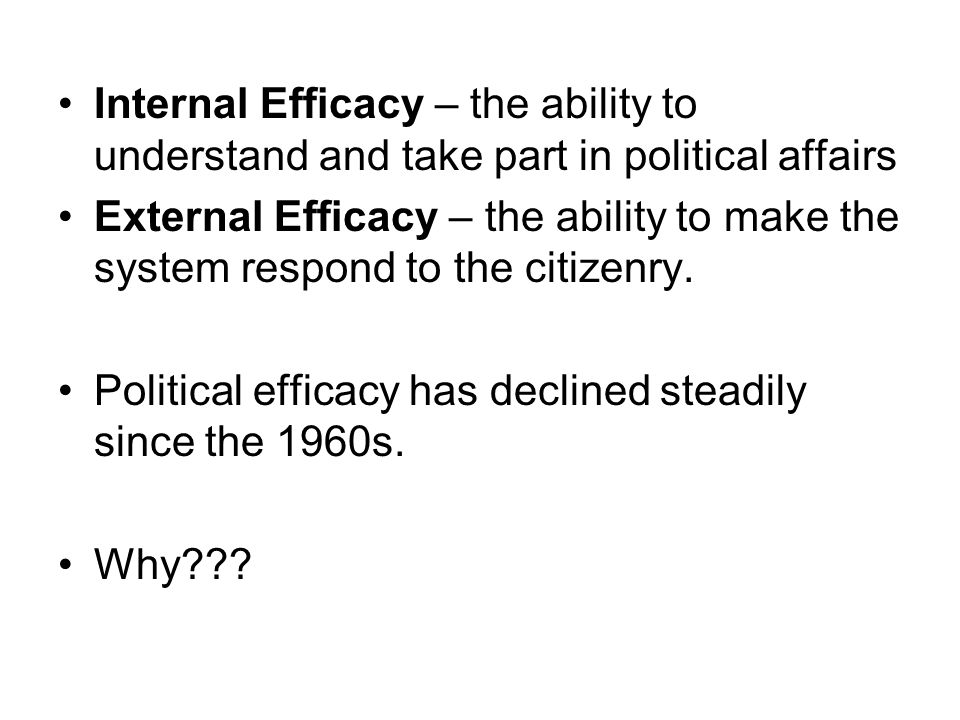Internal Efficacy – the ability to understand and take part in political affairs External Efficacy – the ability to make the system respond to the citizenry.