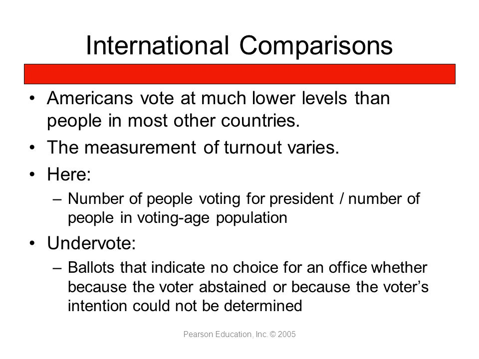 Pearson Education, Inc. © 2005 International Comparisons Americans vote at much lower levels than people in most other countries. The measurement of t